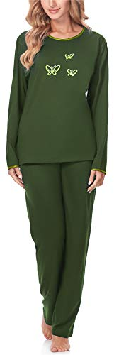 Merry Style Pijamas Conjunto Camisetas y Pantalones Ropa de Cama Manga Larga Mujer 91LW1 (Verde Oscuro (Larga), S)