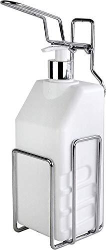 Enviro Pack D+ SMART Fill - Dispensador de jabón desinfectante (con botella vacía de 1000 ml), Blanco, 9,5 x 9,5 x 28 cm