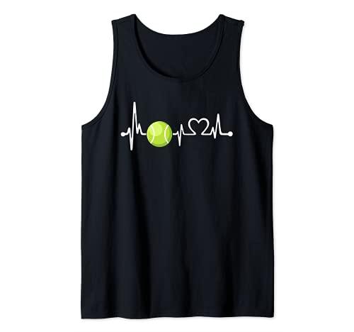 Divertido regalo de entrenador de tenis y jugador | Love Tennis Heartbeat Camiseta sin Mangas