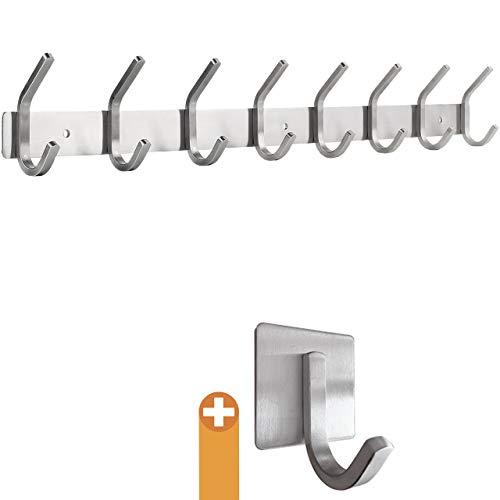 smartpeas Hakenleiste Wand-Garderobe Kleiderhaken Garderobenleiste - Chrome matt - Rostfreier gebürsteter Edelstahl – 8 Feste Haken halten bis 30k - Plus: 1 Selbstklebender Haken