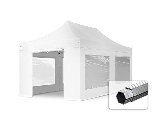 TOOLPORT Faltzelt Professional 3x6 m - mit 4 Seitenteilen (Panoramafenster) Faltpavillon ALU Pavillon Partyzelt weiß
