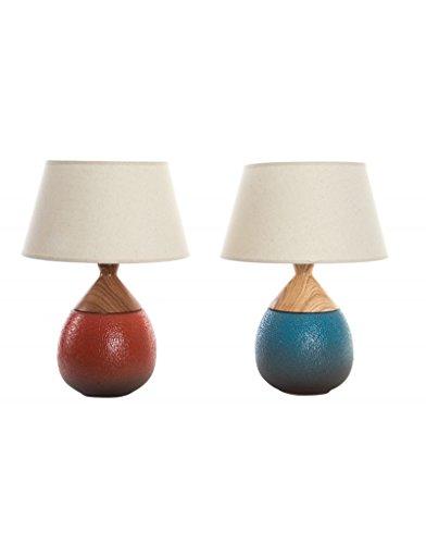 Hogar y plus tafellamp van keramiek met anti-slip voet in twee kleuren – blauw
