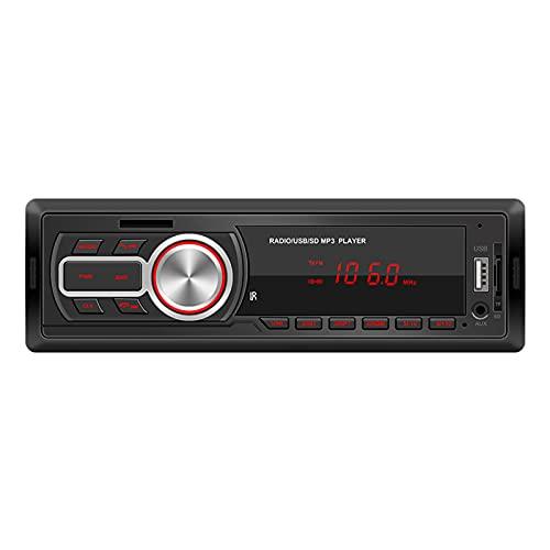strimusimak Reproductor De MP3 para Coche Bluetooth Inalámbrico Auto FM Radio Pantalla U Disco/Lectura De Tarjeta TF SWM-5208 12V Universal para Vehículos Negro