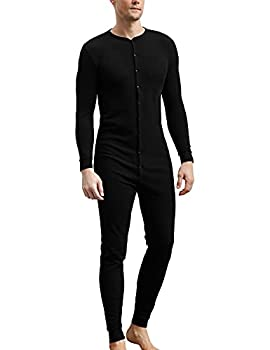 COLORFULLEAF Men s Cotton Thermal Underwear Union Suits Henley Onesies Base Layer  Black M