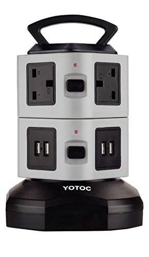Power Strip YOTOC 6 Way Outlet /& 4 USB Ports Switched Multi Plug Extension Lead Tower Surge Protector USB Charger Power Electric Sockets with Retractable 3m//9.8ft Power Cable Grey