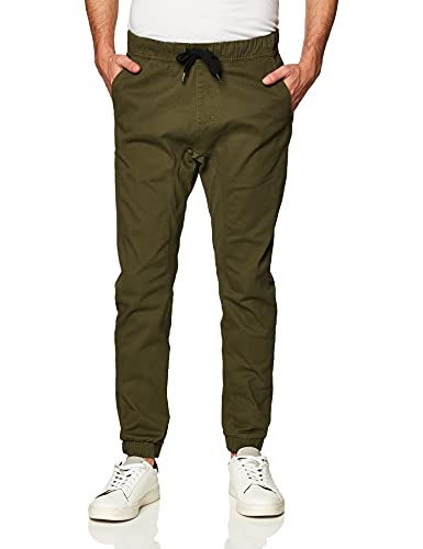 Southpole Men's Basic Stretch Twill Jogger Pants-Reg and Big & Tall Sizes, Olive, Small