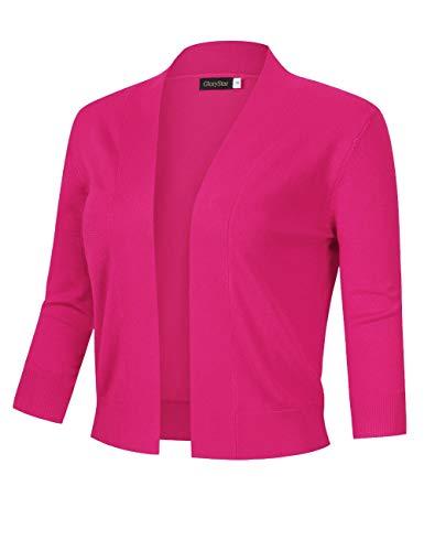 GloryStar Women's 3/4 Sleeve Open Front Cropped Cardigan Sweater Lightweight Knit Short Shrugs Rose Pink XL