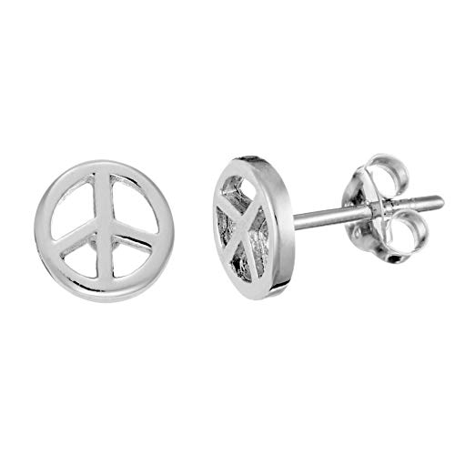 Silverly 7.6 mm Símbolo de Paz Pendientes Pendientes de Botón Pequeños de Mujer en Plata de Ley .925