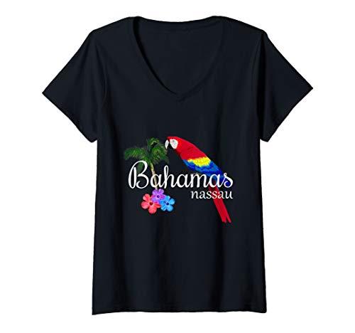 Womens Nassau Bahamas Tropical Destination Beach V-Neck T-Shirt