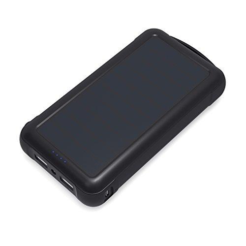 AUKEY Caricabatteria Portatile Solare 20000mAh con Pannelli Solari di SunPower, Uscita 5V 2,1A e Quella 5V 1A, Ingresso Micro USB 5V 2A, per iPhone, Samsung , Kindle, iPad, Tablet ecc