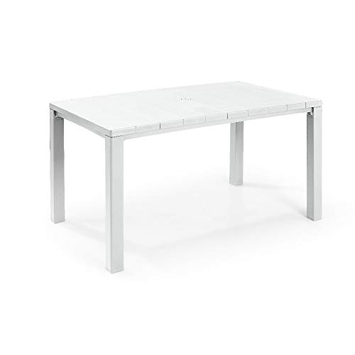 Keter K247390 Julie TABLE-147x90x74,5h-Woodlook-Weiß