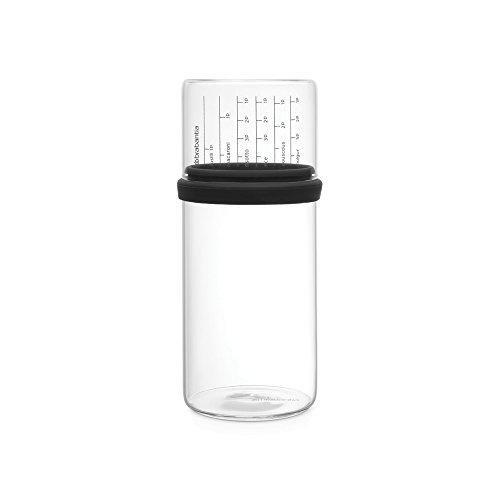Brabantia Vorratsdose mit Messbecher, 1 L, Glas, Grau, 10.4 x 10.4 x 23 cm
