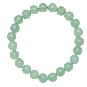 CHARGED Green Aventurine Crystal Bracelet 8mm Round Tumble Polished Stretchy + Selenite Baby Heart Charging Crystal (GAIN CREATIVITY, COURAGE, INDEPENDENCE, PROSPERITY - BALANCES EMOTIONS)