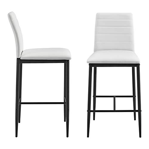 [en.casa] Set di 2 Sgabelli da Bar 2 Sedie Alte con Gambe in Acciaio con Poggiapiedi Seduta in Similpelle Cucina Bar Ristorante - Bianco