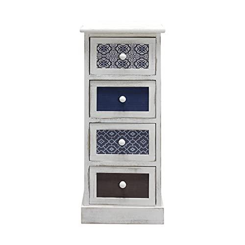 cassettiera legno bianca Rebecca Mobili Cassettiera Comodino Bianco Grigio Blu Shabby Legno 4 Cassetti Soggiorno Salvaspazio Arredo Casa - 76 x 30 x 25 cm (H x L x P) - Art. RE6082