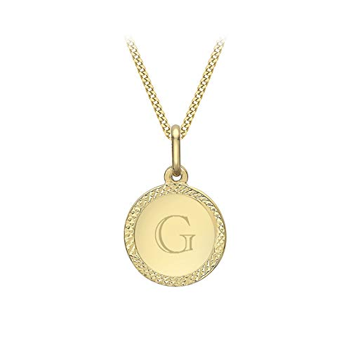 Carissima Gold Women's 9 ct Yellow Gold Diamond Cut Edge Pendant on 9 ct Yellow Gold 0.4 mm Diamond Cut Curb Chain Necklace of Length 46 cm/18 Inch