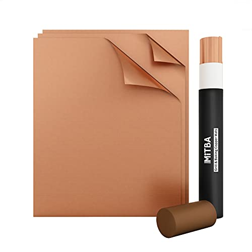 MiTBA Copper Grill Mat Set of 3-XL 100%...
