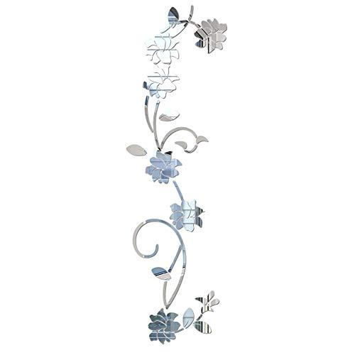 LELE LIFE - Adesivi da parete in acrilico a forma di fiore con vite, elegante specchio da parete, decorazione da parete per casa, soggiorno, camera da letto, colore: argento