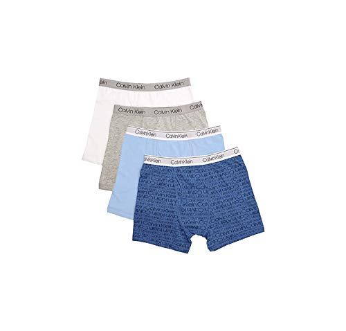 Calvin Klein Boys Underwear 4 Pack Boxer Briefs Value Pack, Blue Grey White Basics, 4-5