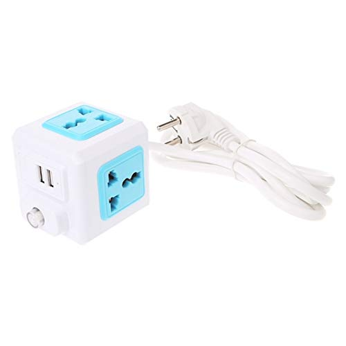 ASDFGT-778 Inteligente Cube Cube EU/EE.UU. / UK Enchufe 4 Adaptador de extensión Externa Socket Universal (Color : Blue, Plug Type : UK)