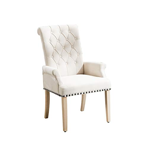 Accent Dining Chair Tufted Fabric Nailheads Trim Solid Wood Set (Beige-A)