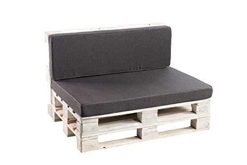 Palettenkissen Sitzkissen, Rückenkissen Schaumkissen glatt PFK (Rückenlehne 120x40, Anthrazit)