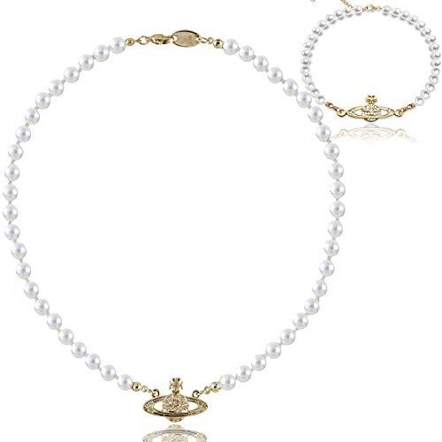 Collana Di Perle Dorate Di Saturno, Collana Di Perle Di Saturno Finto Pianeta Con Bracciale Di Perle, Collana Di Strass Di Cristallo Da Donna (Oro)