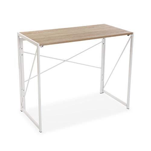 Versa 21300030 Mesa de Escritorio para Ordenador Despacho Plegable Jack, Madera, Marrón y Blanco, 74 x 45 x 90 cm, Metal