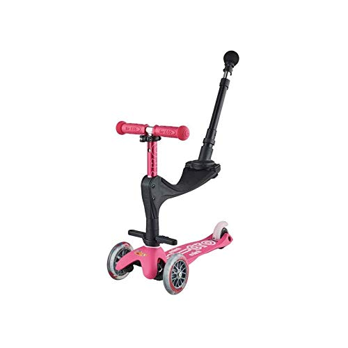Micro Kickboard - Mini 3in1 Deluxe Plus - Three Wheeled, Lean-to-Steer Swiss-Designed Micro Scooter for Toddlers with 3 Riding Options for Ages 1-5 (Pink)