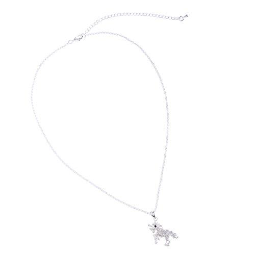 Bonarty Collar de Unicornio con Diamantes de Cristal, Colgante de Caballo Mágico, Regalo para Fiesta de Cumpleaños - Plateado