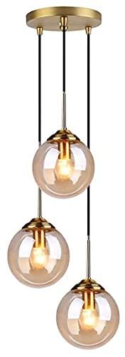 Accesorio de iluminación Industrial retro colgante luz de cristal de cristal lámpara colgante lámpara accesorios de latón luz techo e27 3 luces led araña iluminación para sala de estar comedor dormito