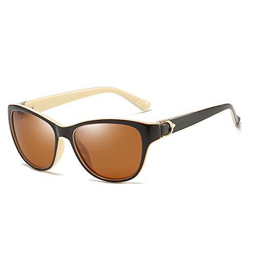 BLEVET Gafas de Sol De Moda Polarizadas Para Mujer Protección UV400 BX007 (White Frame Brown Lens)