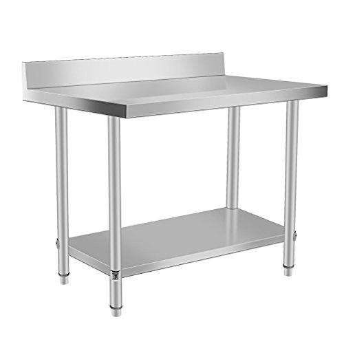 Mesa Cocina Acero Inoxidable, Mesa Trabajo Multifuncional Doble Capa con Deflector, Altura Ajustable, Adecuado para Cocinas y Fabricación Industrial (120x60×95cm)