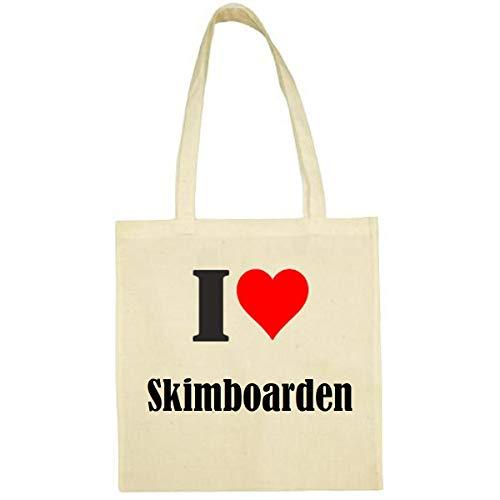 Tasche I Love Skimboarden Größe 38x42 Farbe Natur Druck Schwarz