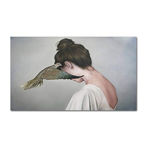 Home + Impressions sur Toile Sad Belle Femme Fille Affiches Modernes Et Estampes Murales Art Mural Peinture sur Toile Decor Photos for Salon Chambre Canvas