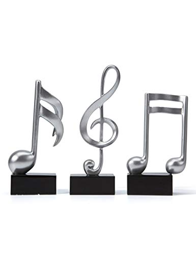 Amoy-Art 3pcs Music Decor Musical Sculpture Statue Music Note Figurine for Home Piano Gifts Souvenirs Giftbox Resin Silver 19cmH