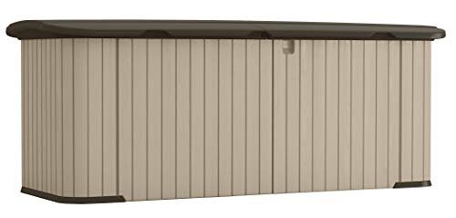 Suncast Multipurpose All-Weather Resin Storage Shed-Hinged Lid and Reinforced Floor Store Outdoor Yard Accessories, Trash Cans, Furniture, Toys, MEDIUM, Taupe