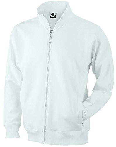 James & Nicholson Herren Jacket Sweatshirt, Weiß (White), Medium
