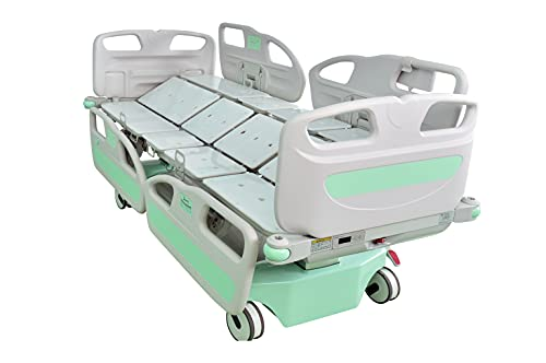 Hopefull EZ-Turn Multi-Functional ICU Electric Hospital Bed (5 Functions Plus Lateral Tilting and Rotation, LINAK Motor and Control System, Central Locking System, Integrated Scale, Foot Control Pads