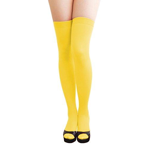 Oblique-Unique® Sexy Strumpfhose -halterlos- Overknee Strümpfe - Party Kostüm Fasching Karneval (Overknee gelb)