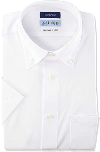 [アイシャツ] i-shirt 完全ノーアイロン ストレッチ 速乾 スリムフィット 半袖 アイシャツ ワイシャツ メンズ ホワイト 半袖ボタンダウン 無地 M16220000201 日本 L(首回り41cm) (日本サイズL相当)