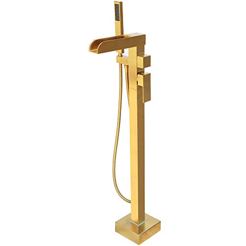 LLGG Freestanding Bathtub Faucet Tub Filler Brushed Gold Waterfall High Flow Rate 11.9GAL Floor Mounted Bathroom Mount Faucets with Hand Shower LLGG