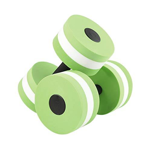 XUEXIU 2 Unids Espuma Agua Espuma Mancuerna Piscina Aqua Mancuernas Acuático Agua Aeróbicos Ejercicio Fitness Pesas para Piscina (Color : Green)
