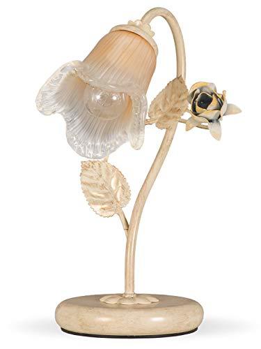 Helios Leuchten 403757 Florentiner Tischleuchte Tischlampe | Blüten chabby chic | Florale Lampe Leuchte Kronleuchter Landhausstil | 1 x E14