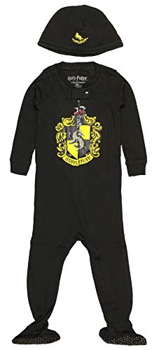 INTIMO Harry Potter Baby Pajamas Set Footed Jammies with Beanie Hogwarts House Hufflepuff (6 Months)