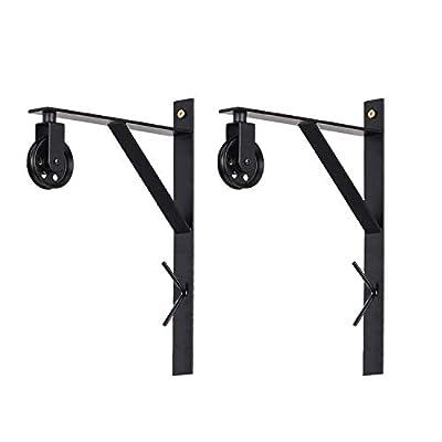Topotdor Wall Mount Bracket and Pulley Set of 2 for Vintage Farmhouse Hanging Lighting DIY Industrial Pendant Light Fixtures (Black)