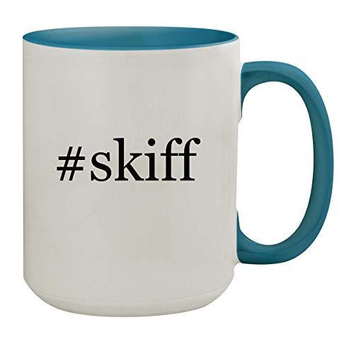 #skiff - 15oz Hashtag Ceramic Inner & Handle Colored Coffee Mug, Light Blue