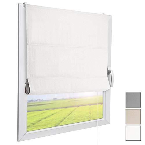 Sol Royal Raffrollo RA3 100x180 cm Stoffrollos für Fenster Weiß Raffgardine ohne Bohren Stoffgardine mit Klemmträgern