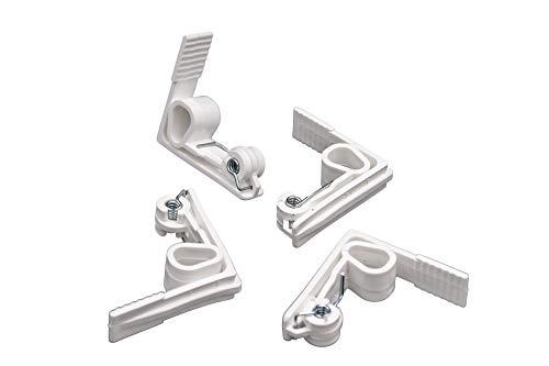 Willy's Fachmarkt Tischdeckenklammer Tischtuchklammern Tischdeckenhalter weiß mit Stahlfeder | Plastik Tischtuchklammer Tischklammern für drinnen und draußen aus Kunststoff im 4er Set