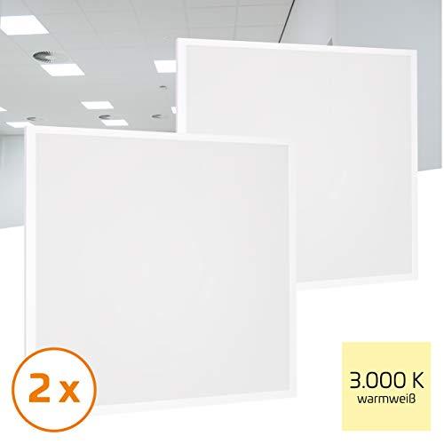 Proventa® LED-paneel 62 x 62 cm, 2 stuks, 36 W (A++), warm wit 3.000 K, 3.600 lumen, heraansluitbare voeding m. Eurostekker, 2 jaar garantie